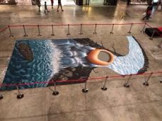 desenho em 3D no shopping da praia Chaweng