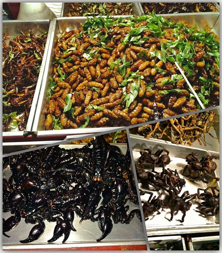 Larvas ( arghh!!), escorpião e tarântulas comidas exóticas em Bangkok- Photos by Claudia Grunow